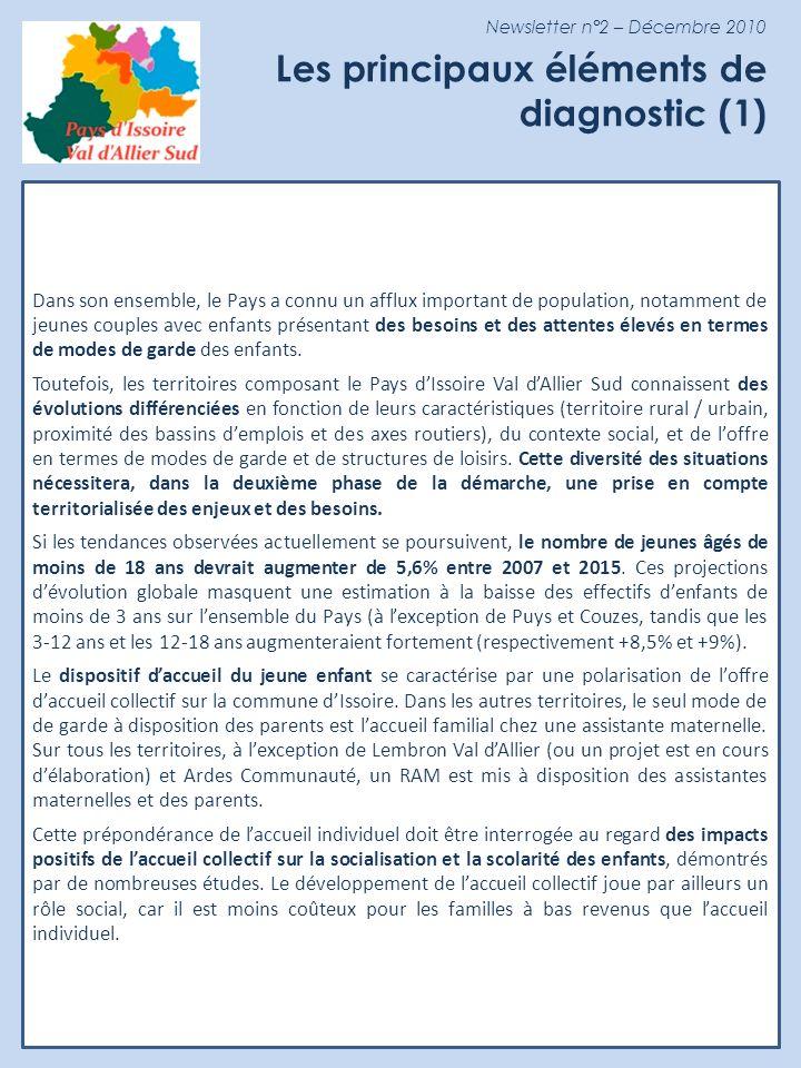 Newsletter n°2 – Décembre 2010 Les principaux éléments de diagnostic (2) Concernant laccueil extrascolaire, seuls les Coteaux de lAllier ne disposent pas dun accueil de loisirs.