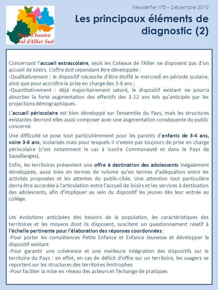 Newsletter n°2 – Décembre 2010 Les principaux éléments de diagnostic (2) Concernant laccueil extrascolaire, seuls les Coteaux de lAllier ne disposent