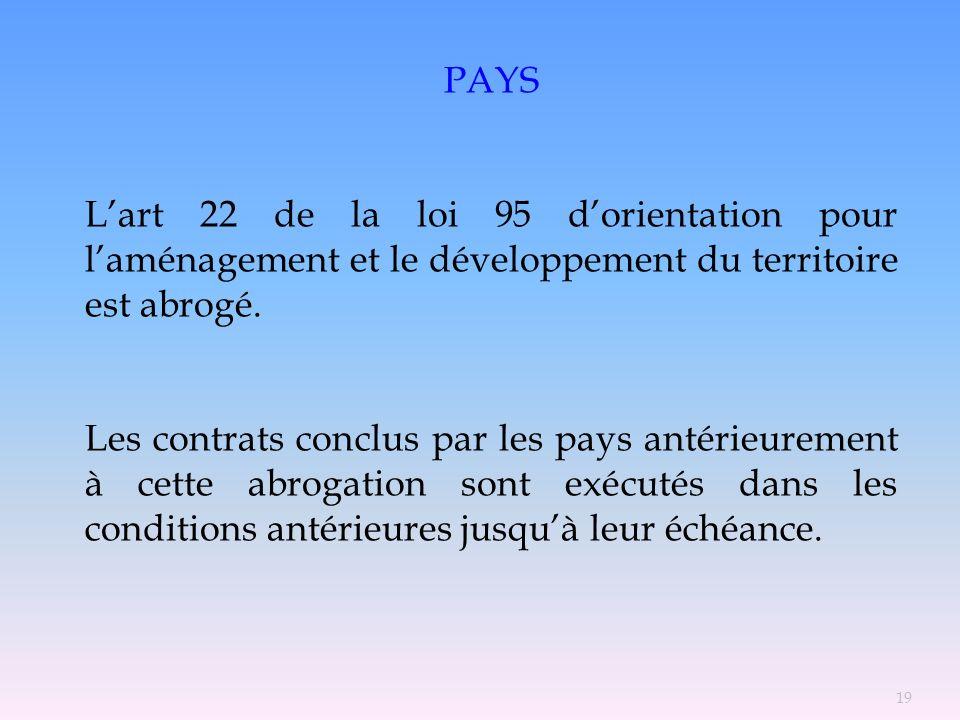 PAYS Lart 22 de la loi 95 dorientation pour laménagement et le développement du territoire est abrogé. Les contrats conclus par les pays antérieuremen