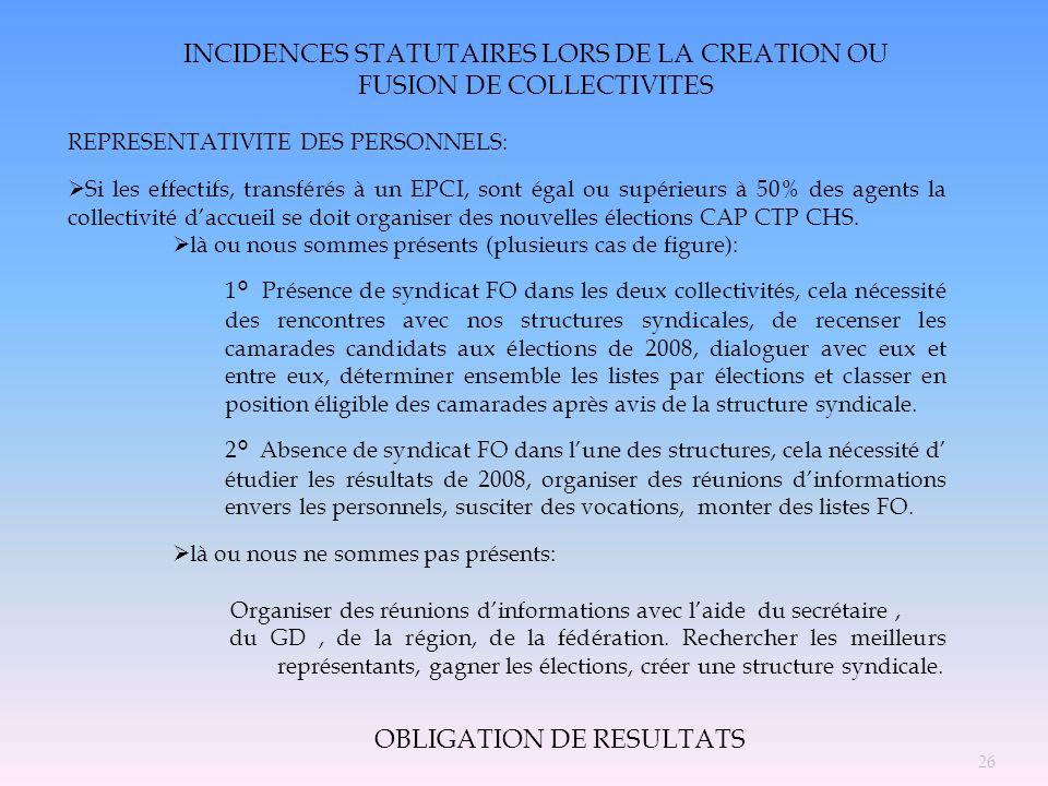 INCIDENCES STATUTAIRES LORS DE LA CREATION OU FUSION DE COLLECTIVITES REPRESENTATIVITE DES PERSONNELS: Si les effectifs, transférés à un EPCI, sont ég