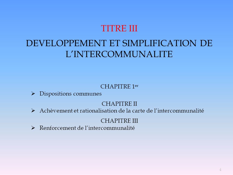 5 TITRE III CLARIFICATION DES COMPETENCES DES COLLECTIVITES TERRITORIALES