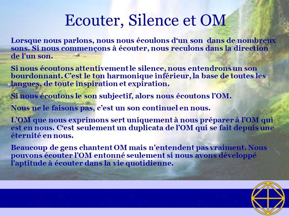Ecouter, Silence et OM Lorsque nous parlons, nous nous écoulons dun son dans de nombreux sons. Si nous commençons à écouter, nous reculons dans la dir