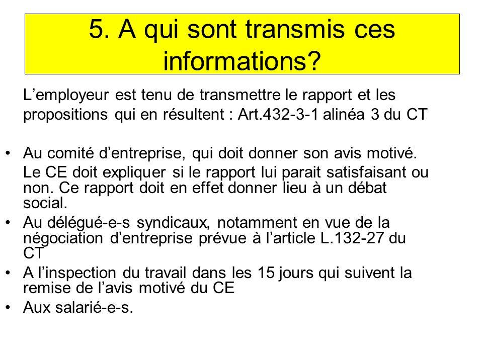 5.A qui sont transmis ces informations.