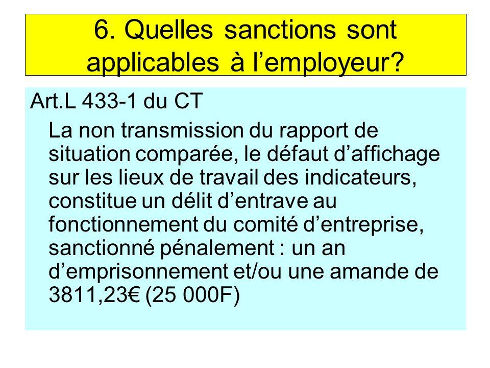 6.Quelles sanctions sont applicables à lemployeur.