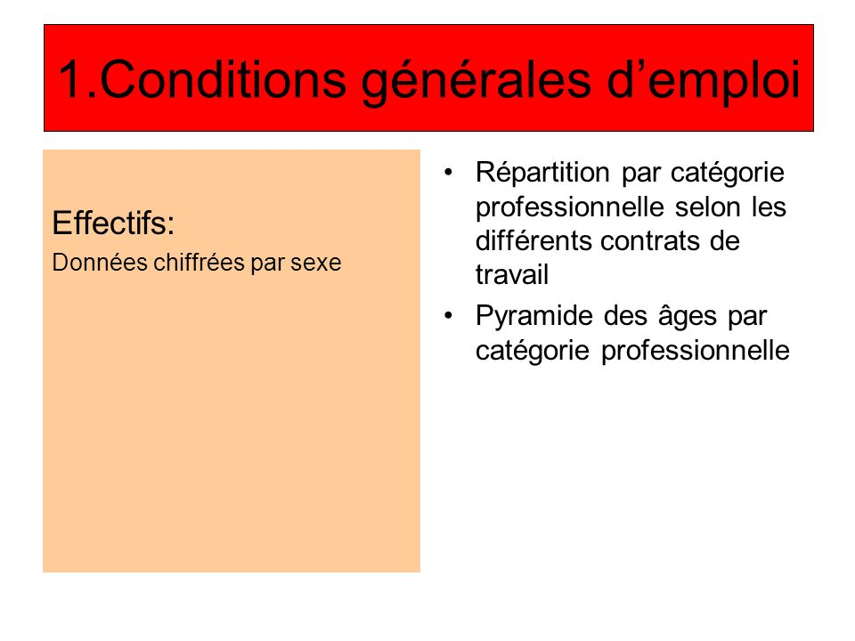 1.Conditions générales demploi Effectifs: Données chiffrées par sexe Répartition par catégorie professionnelle selon les différents contrats de travail Pyramide des âges par catégorie professionnelle