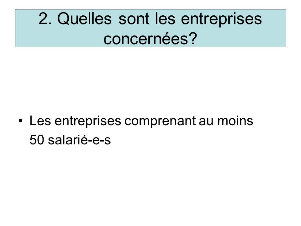 2. Quelles sont les entreprises concernées? Les entreprises comprenant au moins 50 salarié-e-s