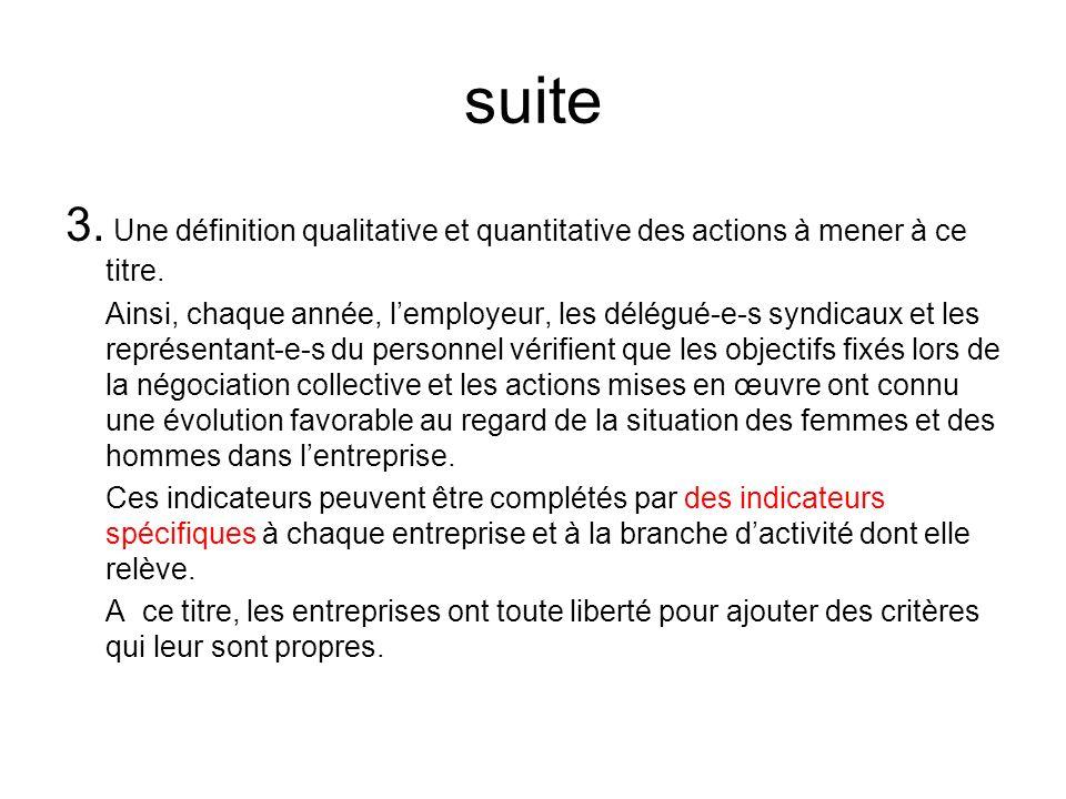 suite 3.Une définition qualitative et quantitative des actions à mener à ce titre.