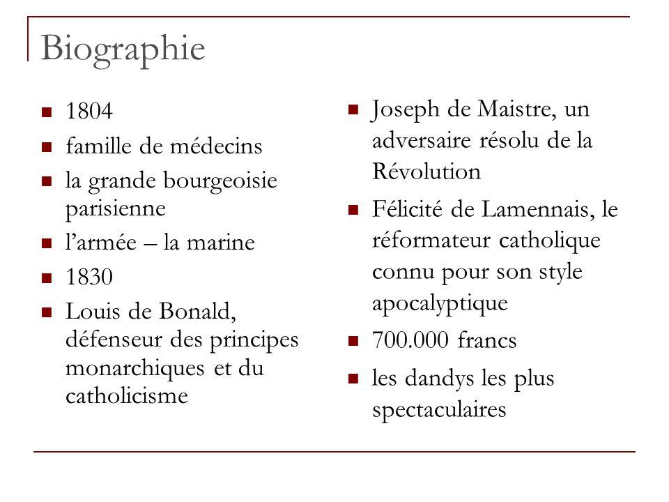 Biographie 1804 famille de médecins la grande bourgeoisie parisienne larmée – la marine 1830 Louis de Bonald, défenseur des principes monarchiques et