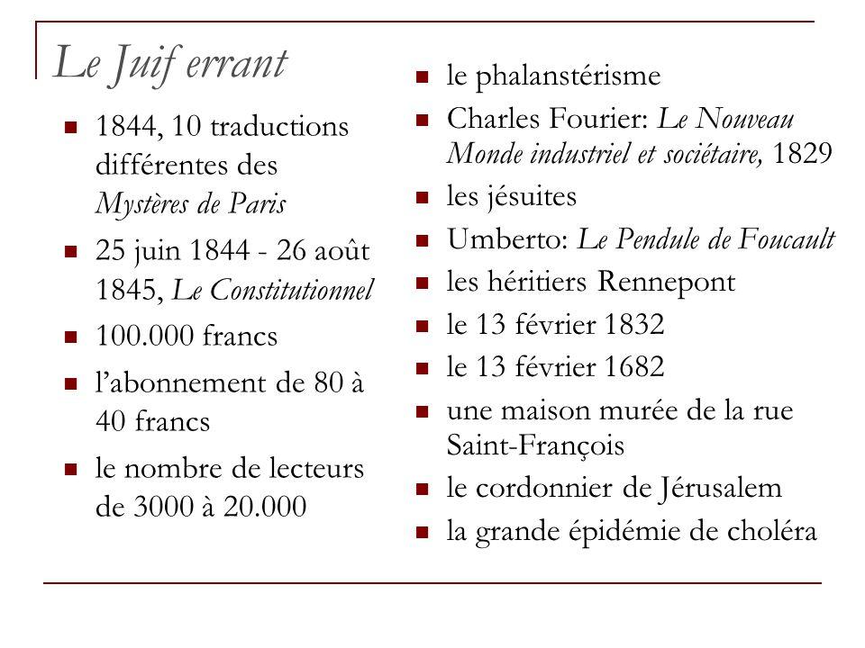 Le Juif errant 1844, 10 traductions différentes des Mystères de Paris 25 juin 1844 - 26 août 1845, Le Constitutionnel 100.000 francs labonnement de 80