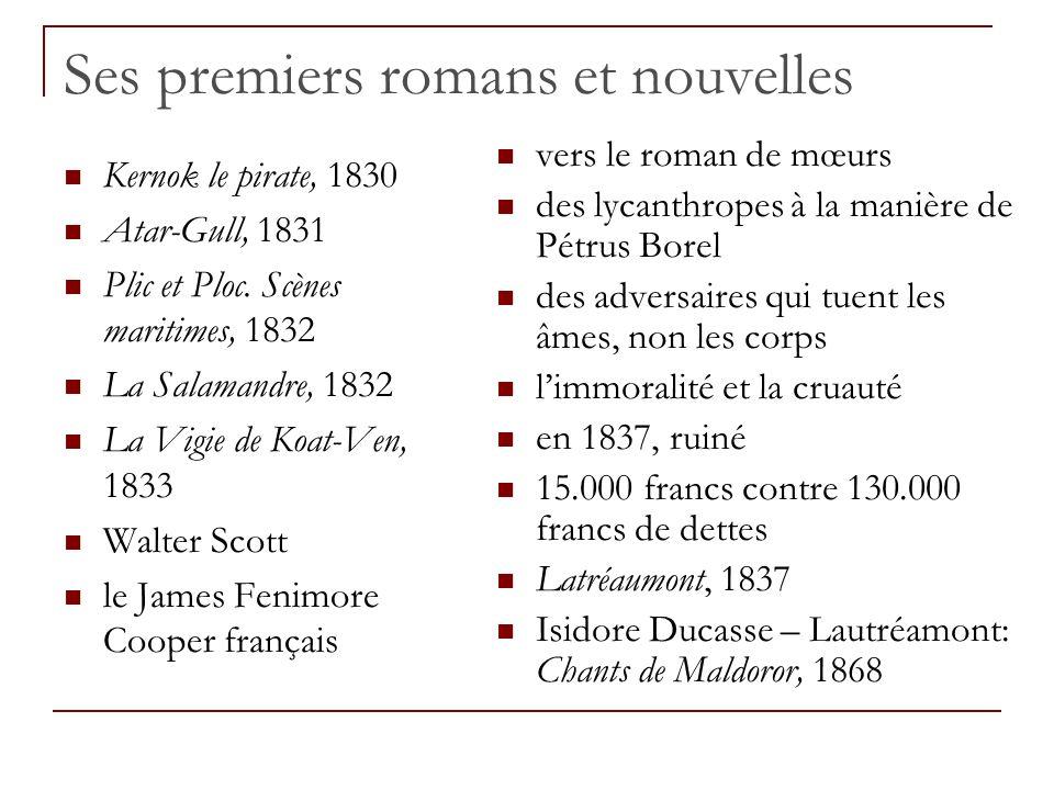 Ses premiers romans et nouvelles Kernok le pirate, 1830 Atar-Gull, 1831 Plic et Ploc. Scènes maritimes, 1832 La Salamandre, 1832 La Vigie de Koat-Ven,