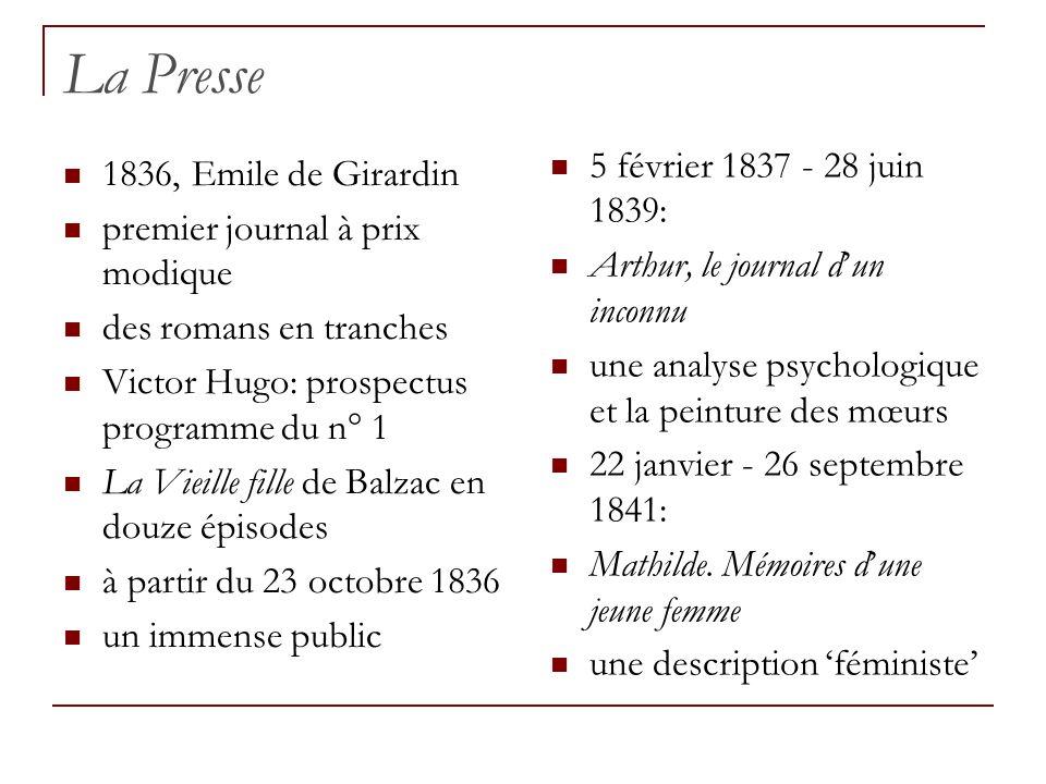 La Presse 1836, Emile de Girardin premier journal à prix modique des romans en tranches Victor Hugo: prospectus programme du n° 1 La Vieille fille de