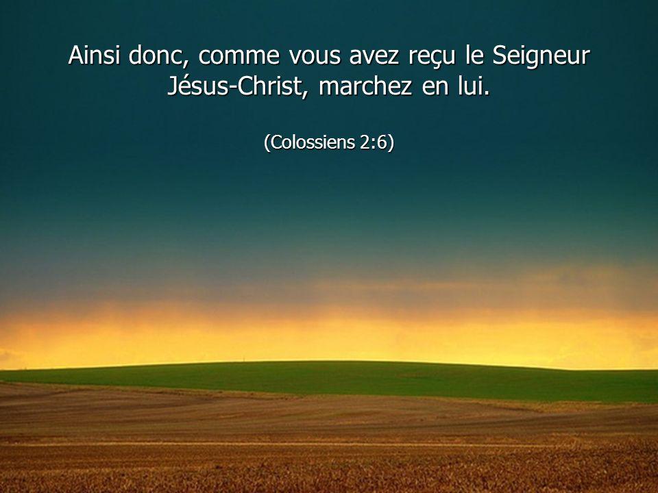 Ainsi donc, comme vous avez reçu le Seigneur Jésus-Christ, marchez en lui. (Colossiens 2:6)