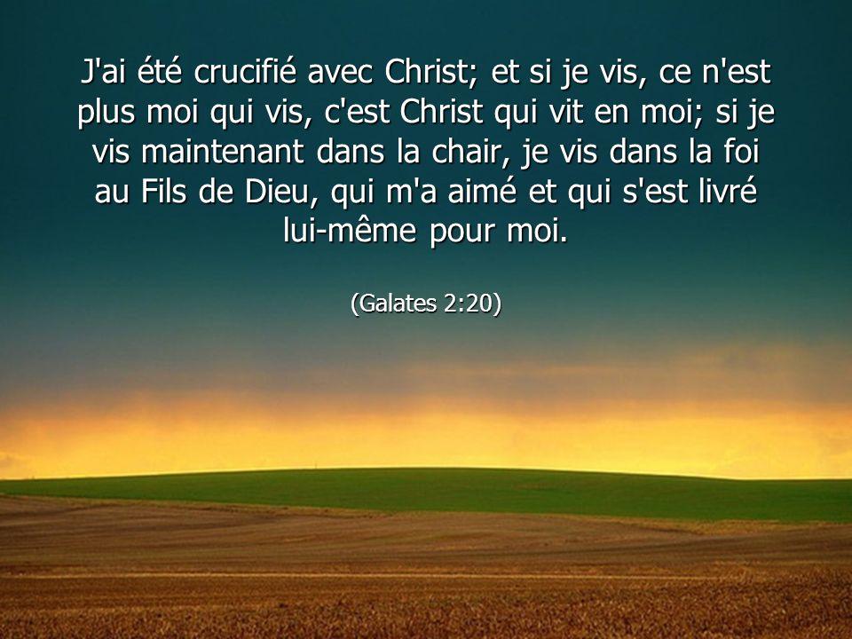 J'ai été crucifié avec Christ; et si je vis, ce n'est plus moi qui vis, c'est Christ qui vit en moi; si je vis maintenant dans la chair, je vis dans l