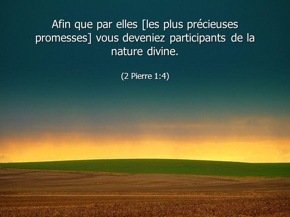 Afin que par elles [les plus précieuses promesses] vous deveniez participants de la nature divine. (2 Pierre 1:4)