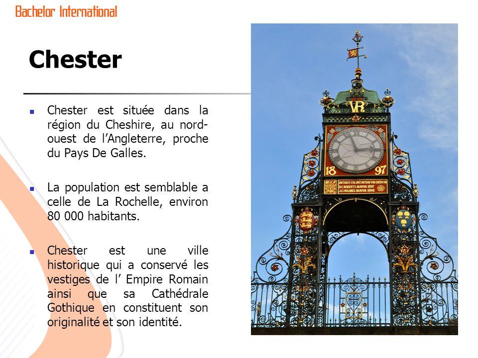 Chester Chester est située dans la région du Cheshire, au nord- ouest de lAngleterre, proche du Pays De Galles. La population est semblable a celle de