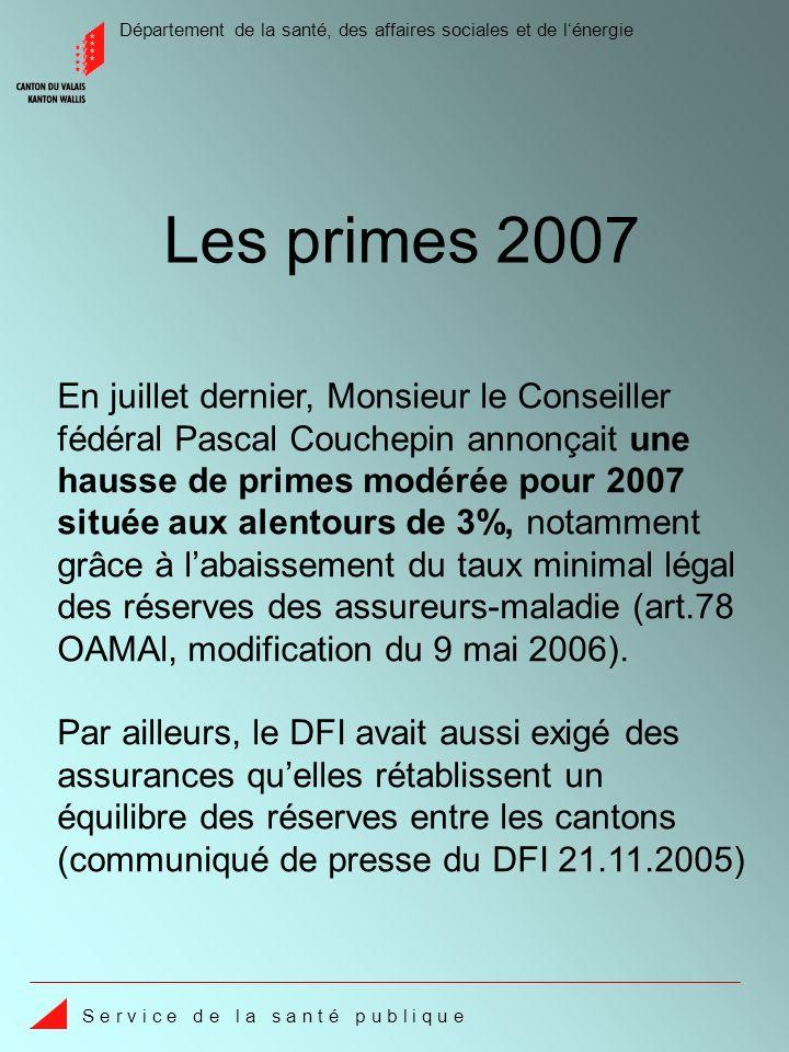 Département de la santé, des affaires sociales et de lénergie S e r v i c e d e l a s a n t é p u b l i q u e Les primes 2007 En juillet dernier, Mons
