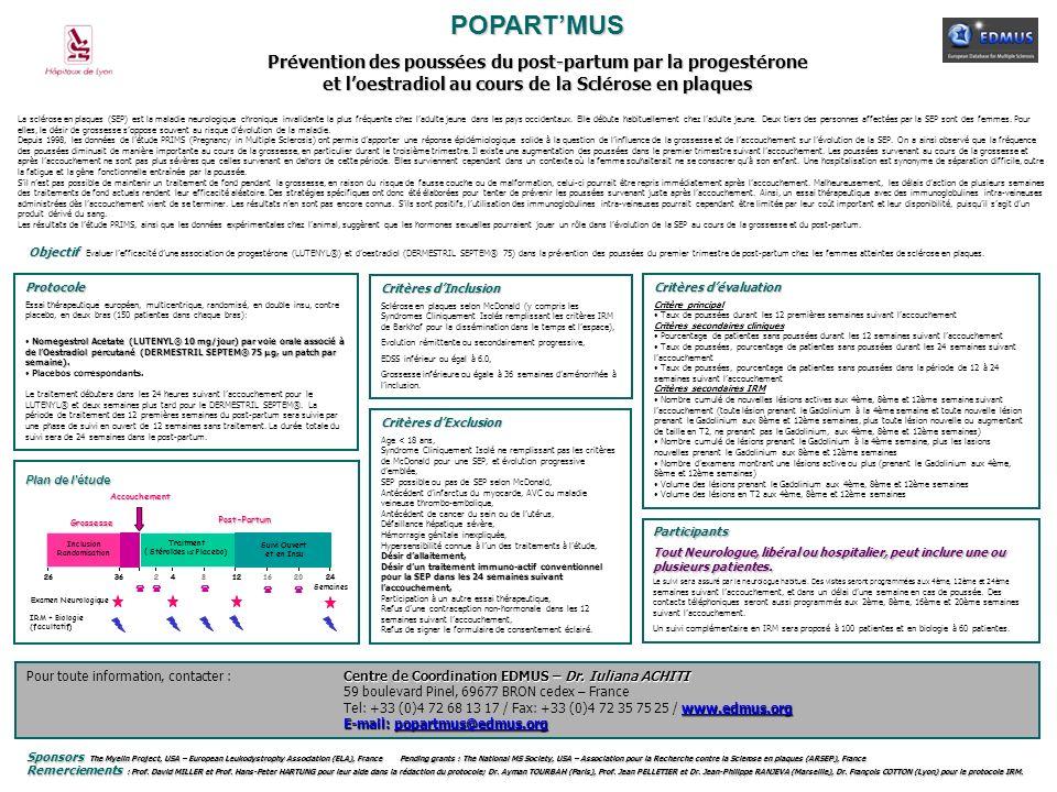 POPARTMUS Prévention des poussées du post-partum par la progestérone et loestradiol au cours de la Sclérose en plaques La sclérose en plaques (SEP) es
