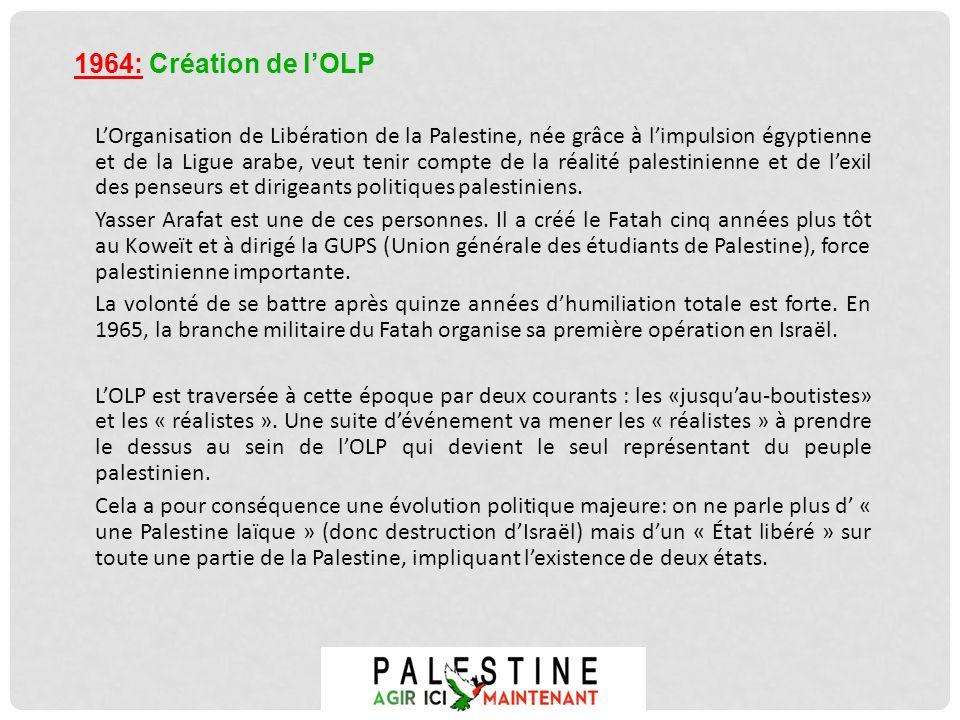LOrganisation de Libération de la Palestine, née grâce à limpulsion égyptienne et de la Ligue arabe, veut tenir compte de la réalité palestinienne et