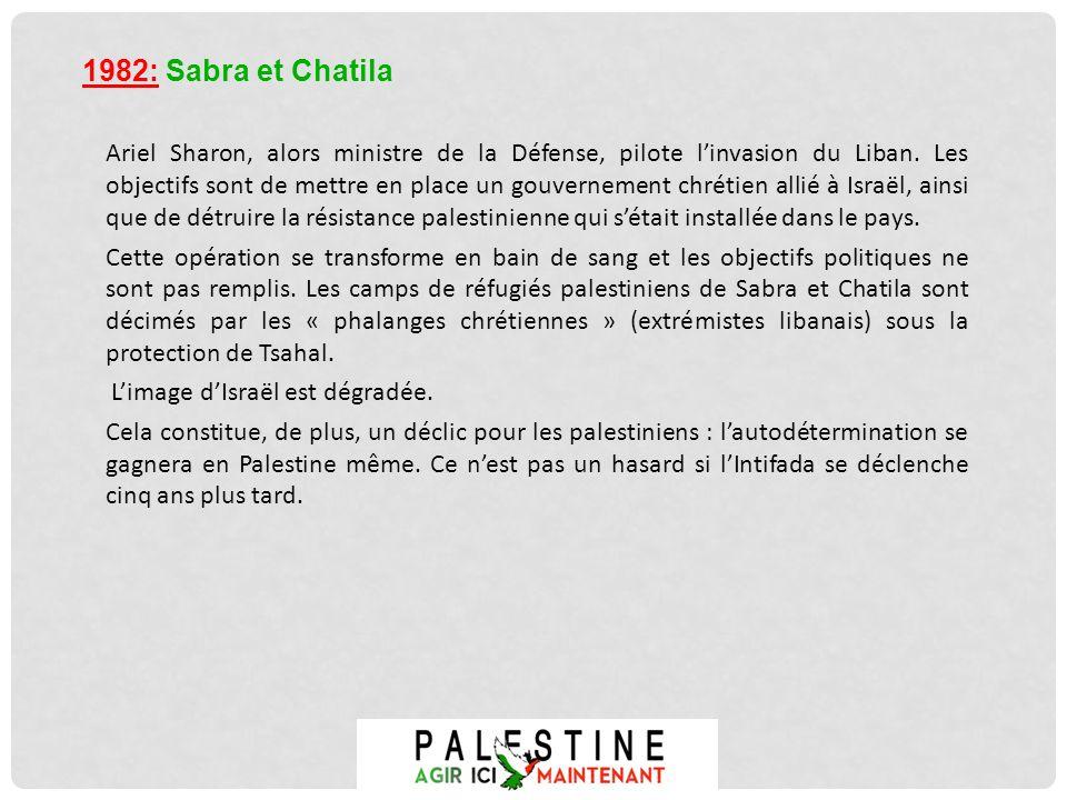 Ariel Sharon, alors ministre de la Défense, pilote linvasion du Liban. Les objectifs sont de mettre en place un gouvernement chrétien allié à Israël,