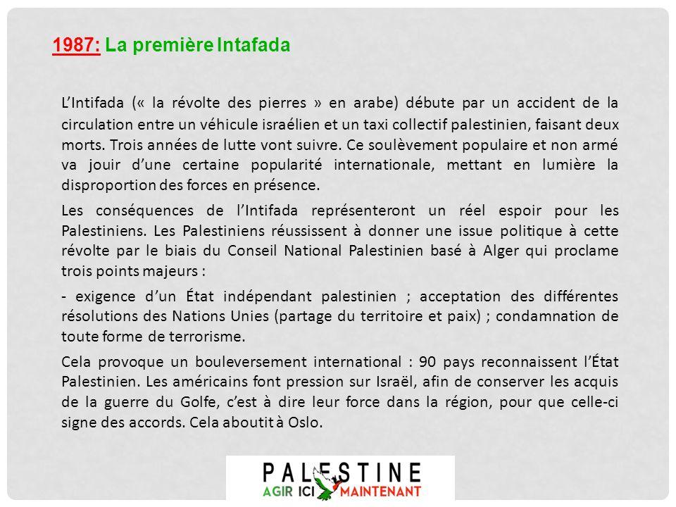 LIntifada (« la révolte des pierres » en arabe) débute par un accident de la circulation entre un véhicule israélien et un taxi collectif palestinien,