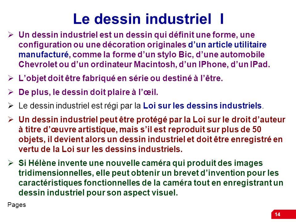 14 Le dessin industriel I Un dessin industriel est un dessin qui définit une forme, une configuration ou une décoration originales dun article utilita