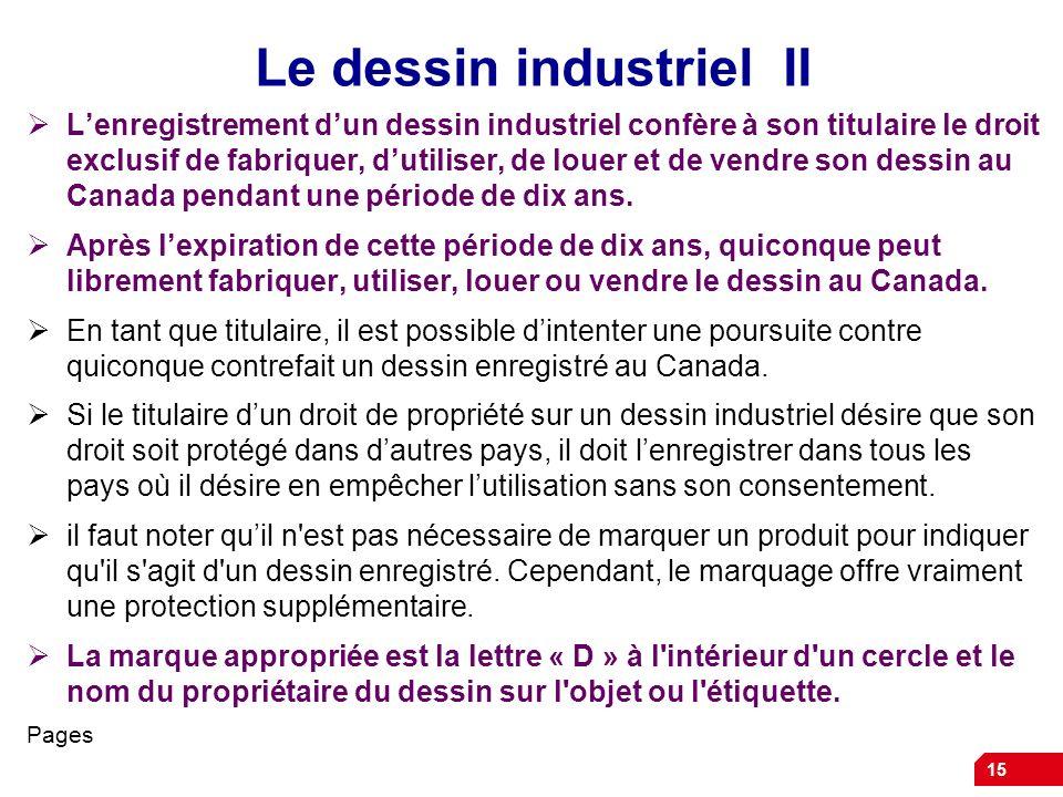 15 Le dessin industriel II Lenregistrement dun dessin industriel confère à son titulaire le droit exclusif de fabriquer, dutiliser, de louer et de ven