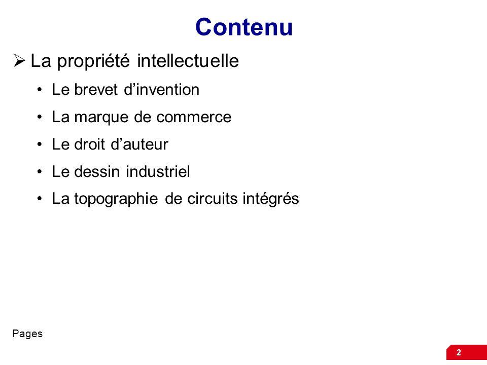 2 Contenu La propriété intellectuelle Le brevet dinvention La marque de commerce Le droit dauteur Le dessin industriel La topographie de circuits inté