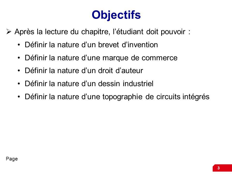 3 Objectifs Après la lecture du chapitre, létudiant doit pouvoir : Définir la nature dun brevet dinvention Définir la nature dune marque de commerce D