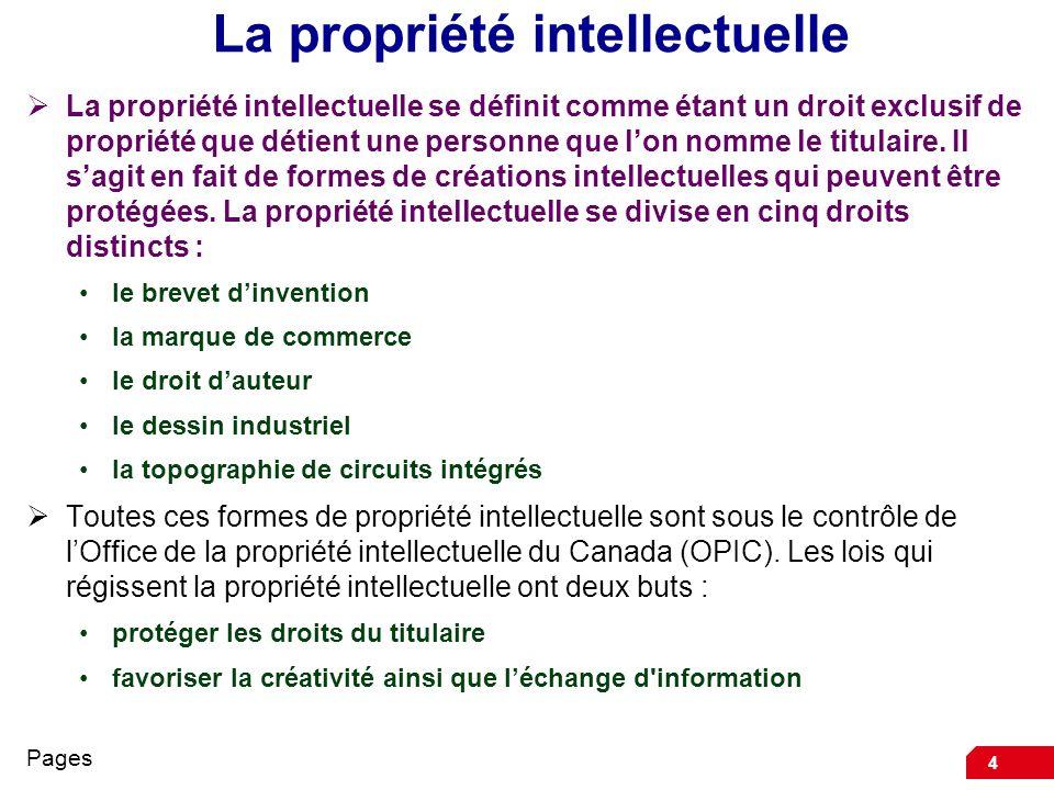 4 La propriété intellectuelle La propriété intellectuelle se définit comme étant un droit exclusif de propriété que détient une personne que lon nomme