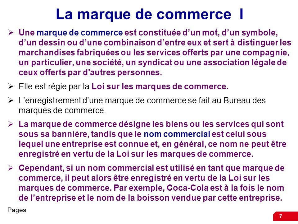 7 La marque de commerce I Une marque de commerce est constituée dun mot, dun symbole, dun dessin ou dune combinaison dentre eux et sert à distinguer l