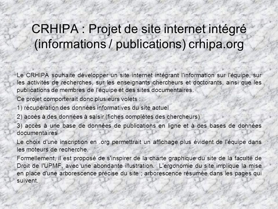 CRHIPA : Projet de site internet intégré (informations / publications) crhipa.org Le CRHIPA souhaite développer un site internet intégrant l information sur l équipe, sur les activités de recherches, sur les enseignants chercheurs et doctorants, ainsi que les publications de membres de l équipe et des sites documentaires.