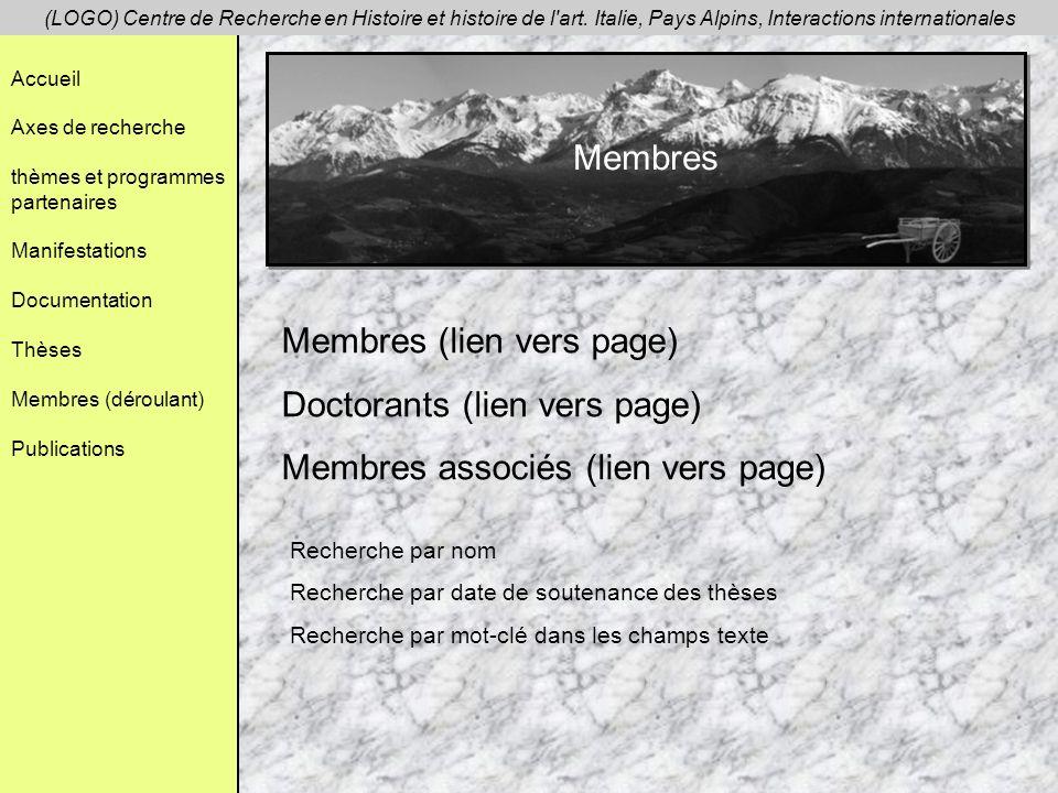 Accueil Axes de recherche thèmes et programmes partenaires Manifestations Documentation Thèses Membres (déroulant) Publications (LOGO) Centre de Recherche en Histoire et histoire de l art.