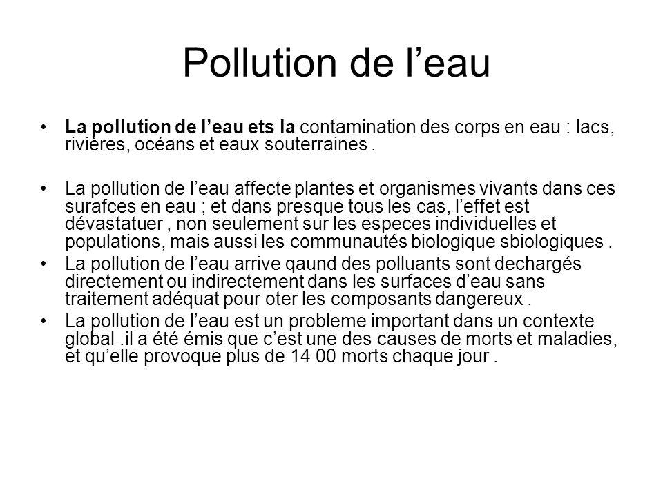 Pollution de leau La pollution de leau ets la contamination des corps en eau : lacs, rivières, océans et eaux souterraines. La pollution de leau affec