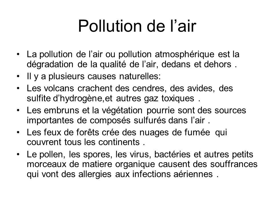 Pollution de lair La pollution de lair ou pollution atmosphérique est la dégradation de la qualité de lair, dedans et dehors. Il y a plusieurs causes