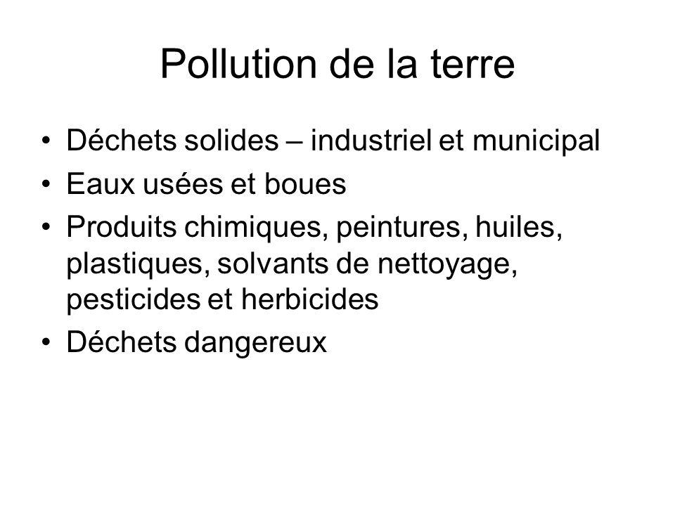 Pollution de la terre Déchets solides – industriel et municipal Eaux usées et boues Produits chimiques, peintures, huiles, plastiques, solvants de net