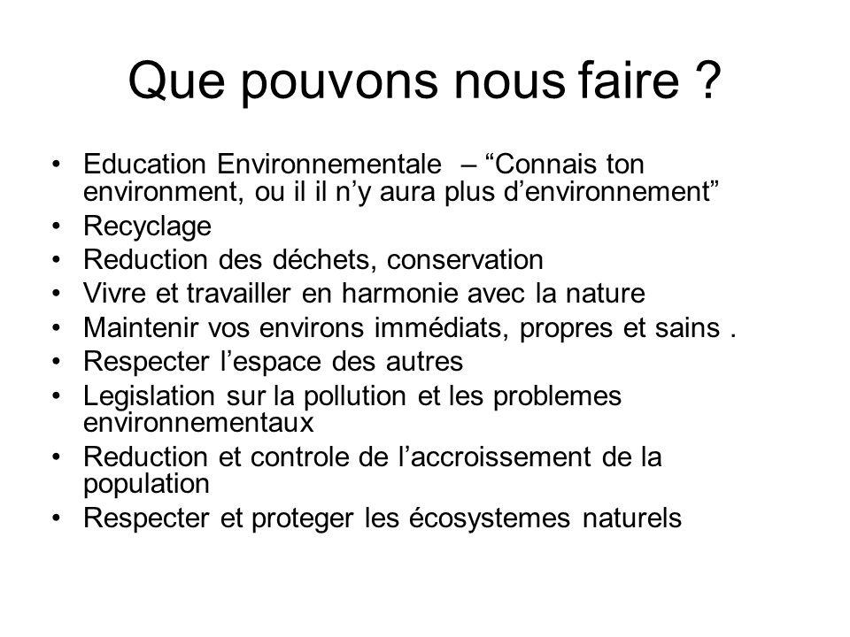 Que pouvons nous faire ? Education Environnementale – Connais ton environment, ou il il ny aura plus denvironnement Recyclage Reduction des déchets, c