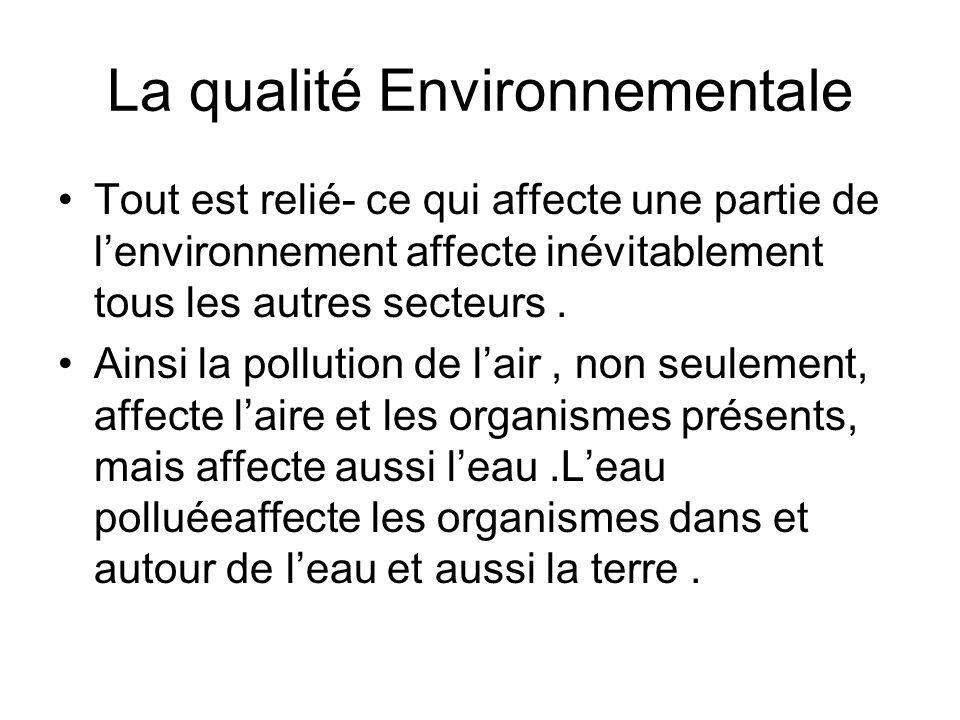 La qualité Environnementale Tout est relié- ce qui affecte une partie de lenvironnement affecte inévitablement tous les autres secteurs. Ainsi la poll