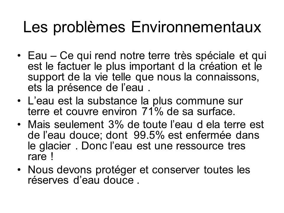 Les problèmes Environnementaux Eau – Ce qui rend notre terre très spéciale et qui est le factuer le plus important d la création et le support de la v