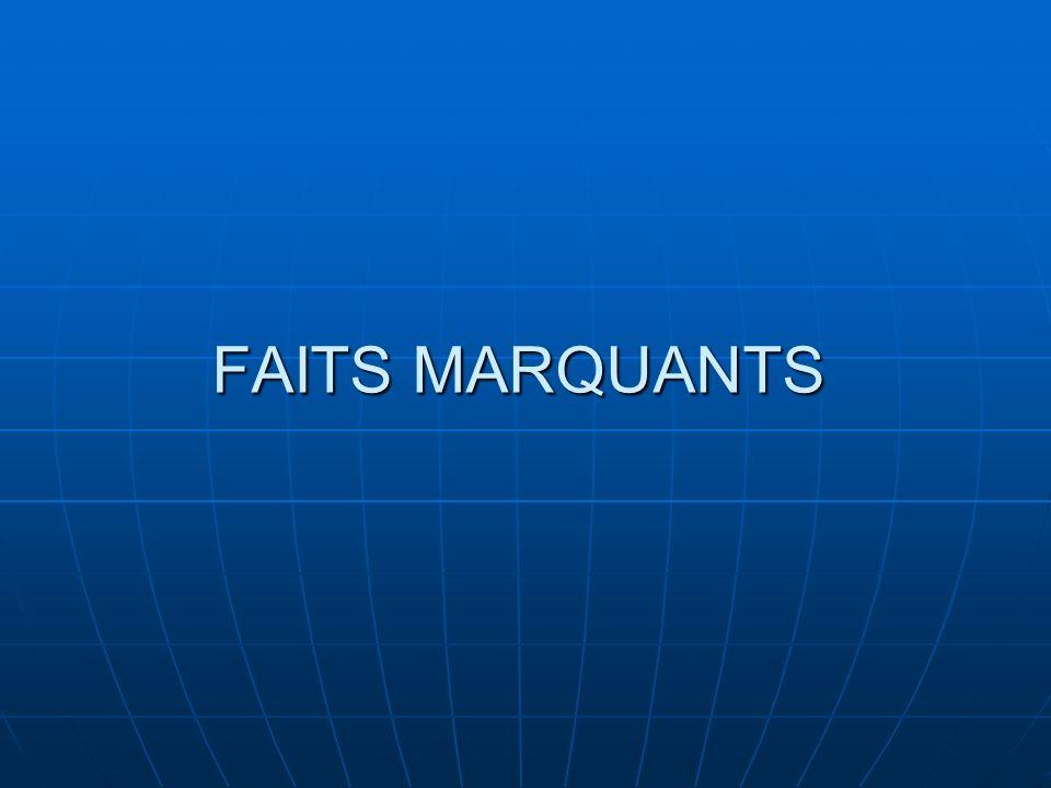 FAITS MARQUANTS