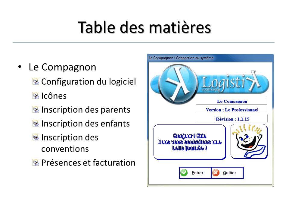 Table des matières Le Compagnon Configuration du logiciel Icônes Inscription des parents Inscription des enfants Inscription des conventions Présences et facturation