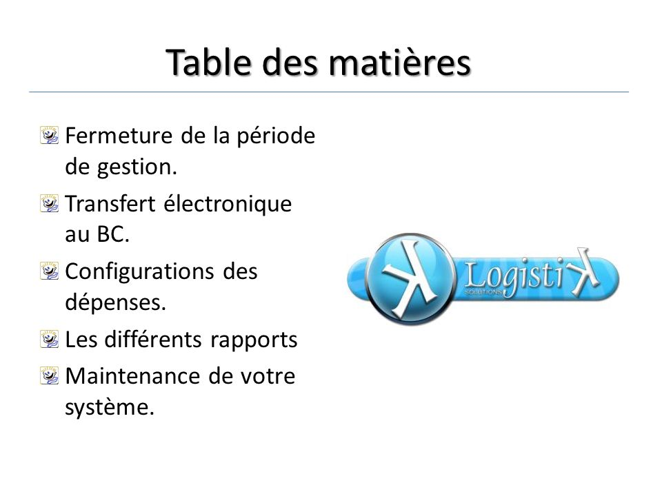 Configuration du Logiciel Pour débuter la configuration du logiciel, il est important de débuter par la base.