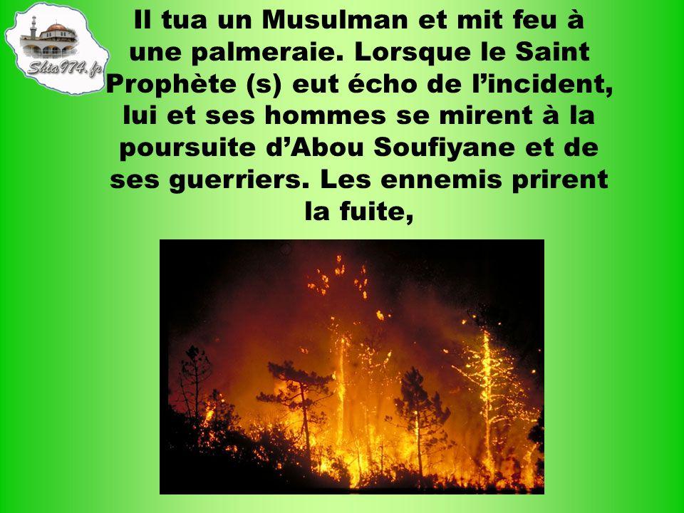 Il tua un Musulman et mit feu à une palmeraie. Lorsque le Saint Prophète (s) eut écho de lincident, lui et ses hommes se mirent à la poursuite dAbou S