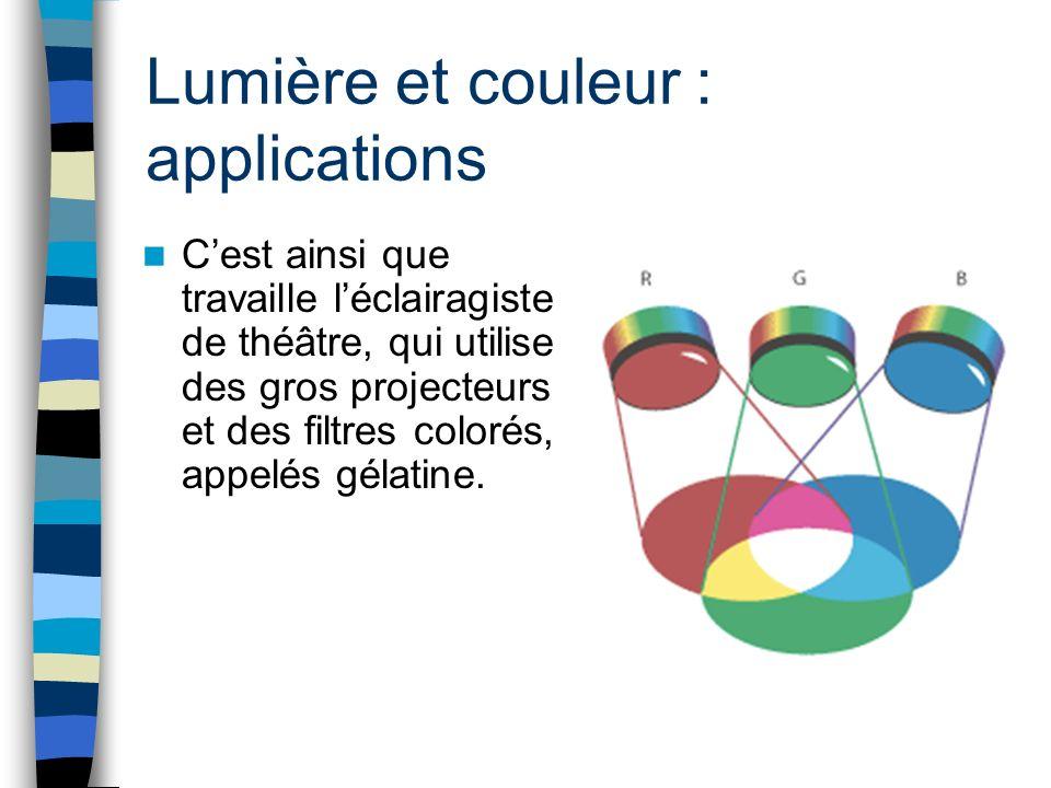 Lumière et couleur : applications Cest ainsi que travaille léclairagiste de théâtre, qui utilise des gros projecteurs et des filtres colorés, appelés