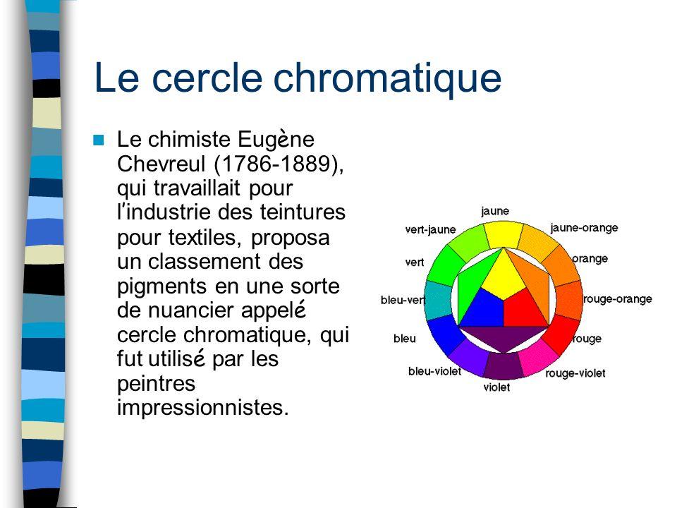 Le cercle chromatique Le chimiste Eug è ne Chevreul (1786-1889), qui travaillait pour l industrie des teintures pour textiles, proposa un classement d