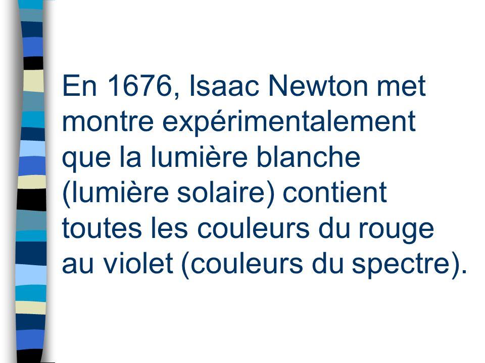 En 1676, Isaac Newton met montre expérimentalement que la lumière blanche (lumière solaire) contient toutes les couleurs du rouge au violet (couleurs