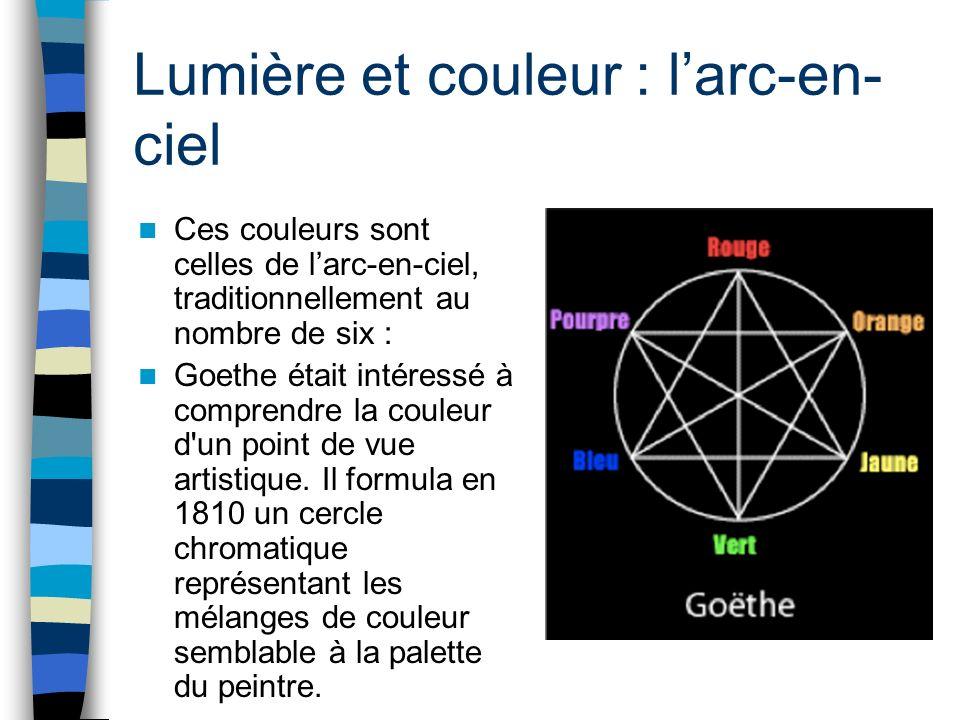 Lumière et couleur : larc-en- ciel Ces couleurs sont celles de larc-en-ciel, traditionnellement au nombre de six : Goethe était intéressé à comprendre