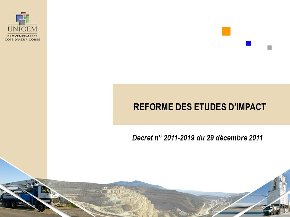 REFORME DES ETUDES DIMPACT Décret n° 2011-2019 du 29 décembre 2011