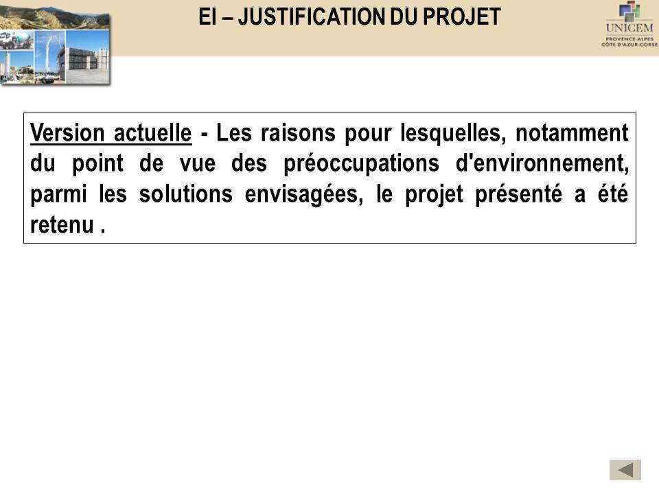 EI – JUSTIFICATION DU PROJET Version actuelle - Les raisons pour lesquelles, notamment du point de vue des préoccupations d'environnement, parmi les s