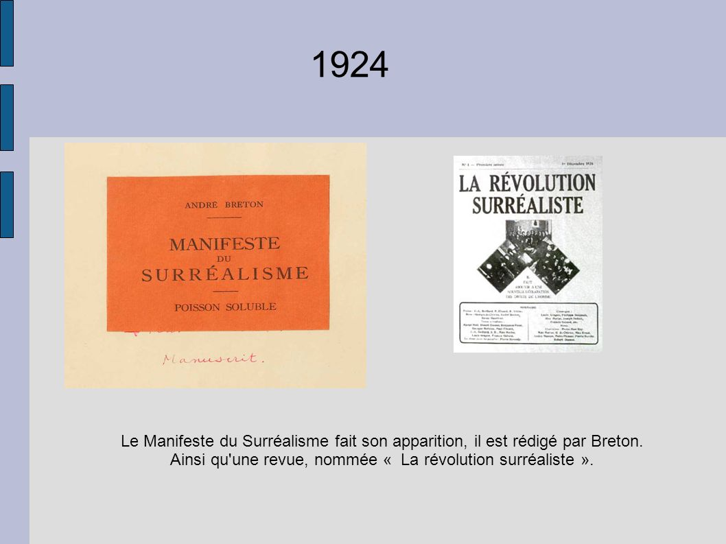 1924 Le Manifeste du Surréalisme fait son apparition, il est rédigé par Breton. Ainsi qu'une revue, nommée « La révolution surréaliste ».