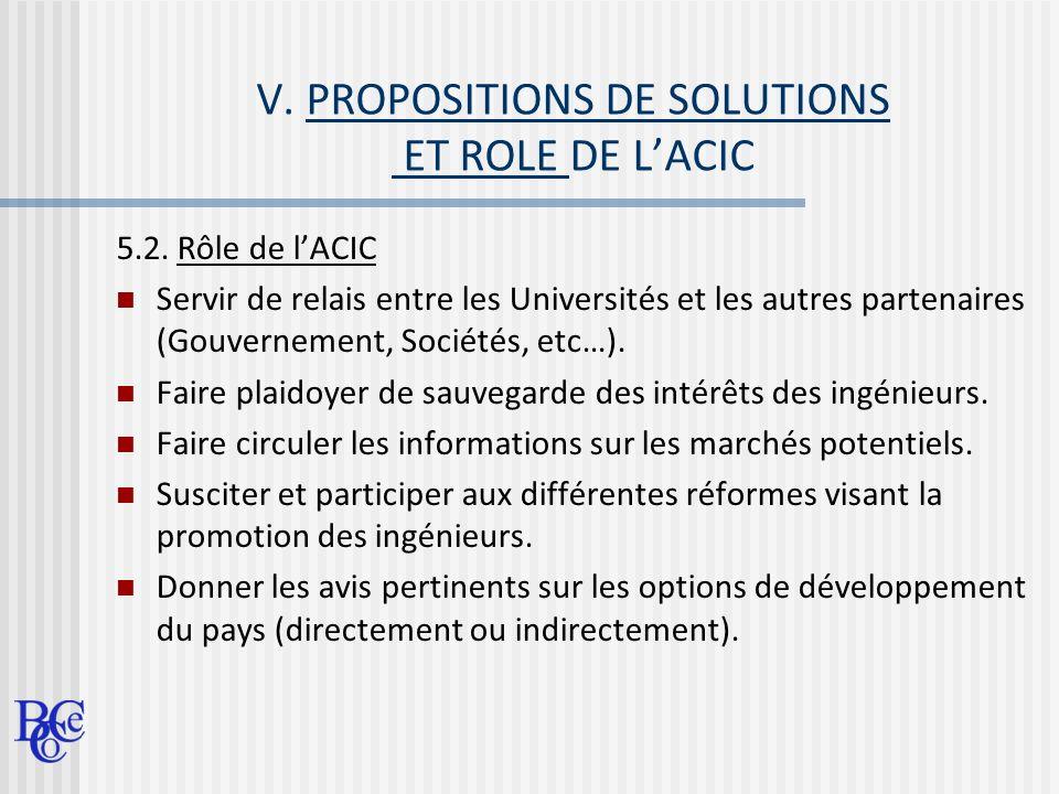 V. PROPOSITIONS DE SOLUTIONS ET ROLE DE LACIC 5.2. Rôle de lACIC Servir de relais entre les Universités et les autres partenaires (Gouvernement, Socié